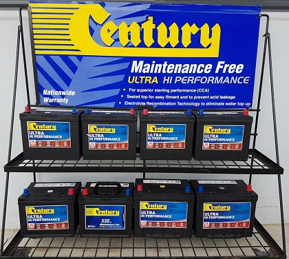 Century Batteries on display.